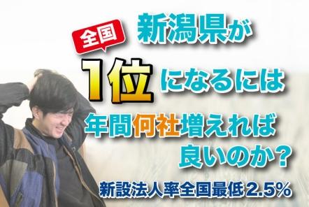 新潟県が新設法人率で全国1位になるには年間何社増えれば良いのか?【新設法人率全国最低 2.5%】