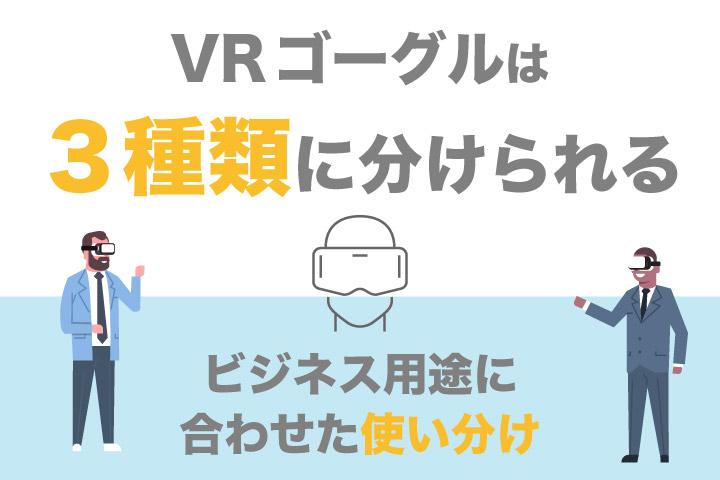 VRゴーグルは3種類に分けられる【ビジネス用途に合わせた使い分け】