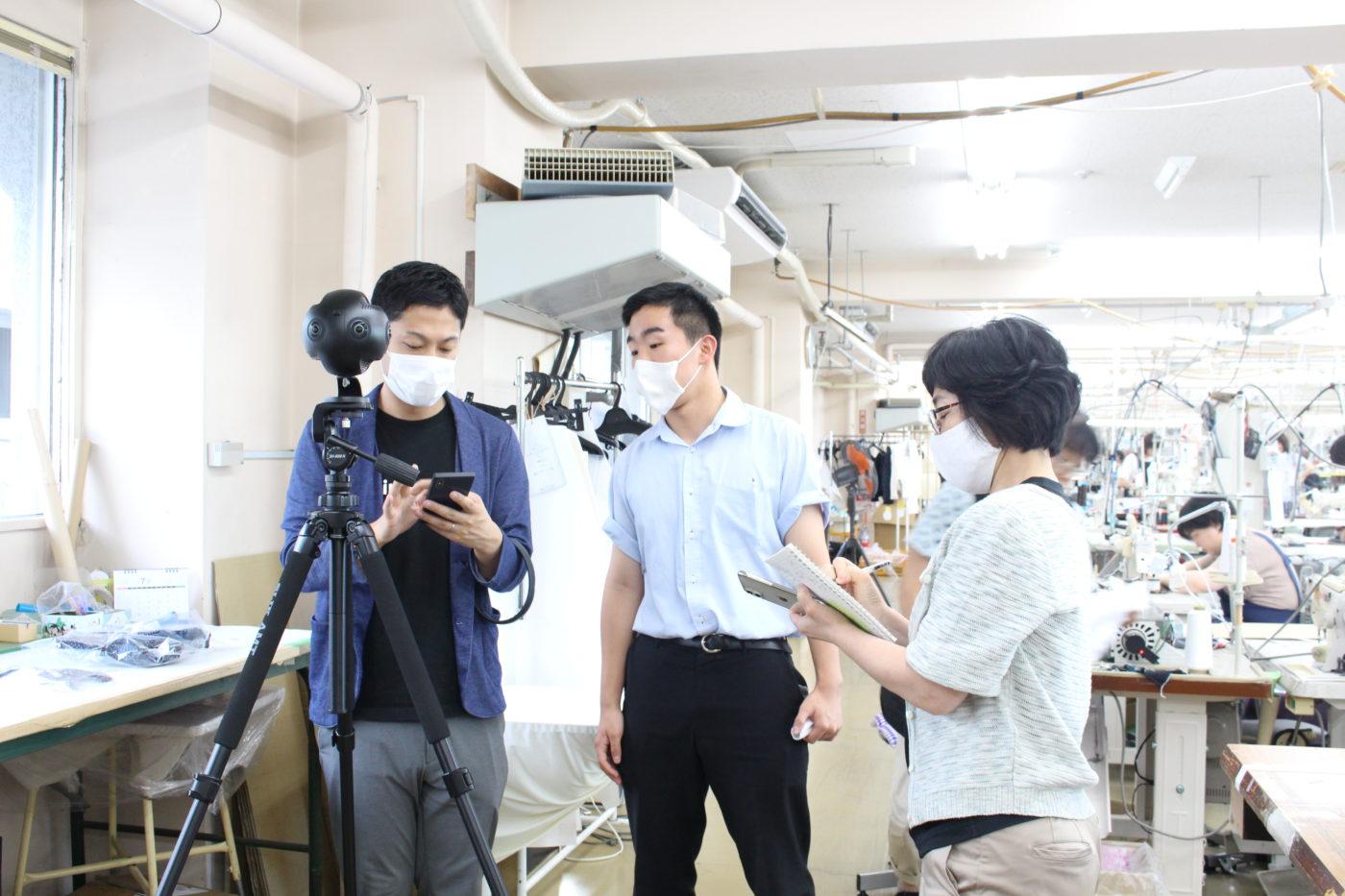 五泉高校生とニット工場で撮影7
