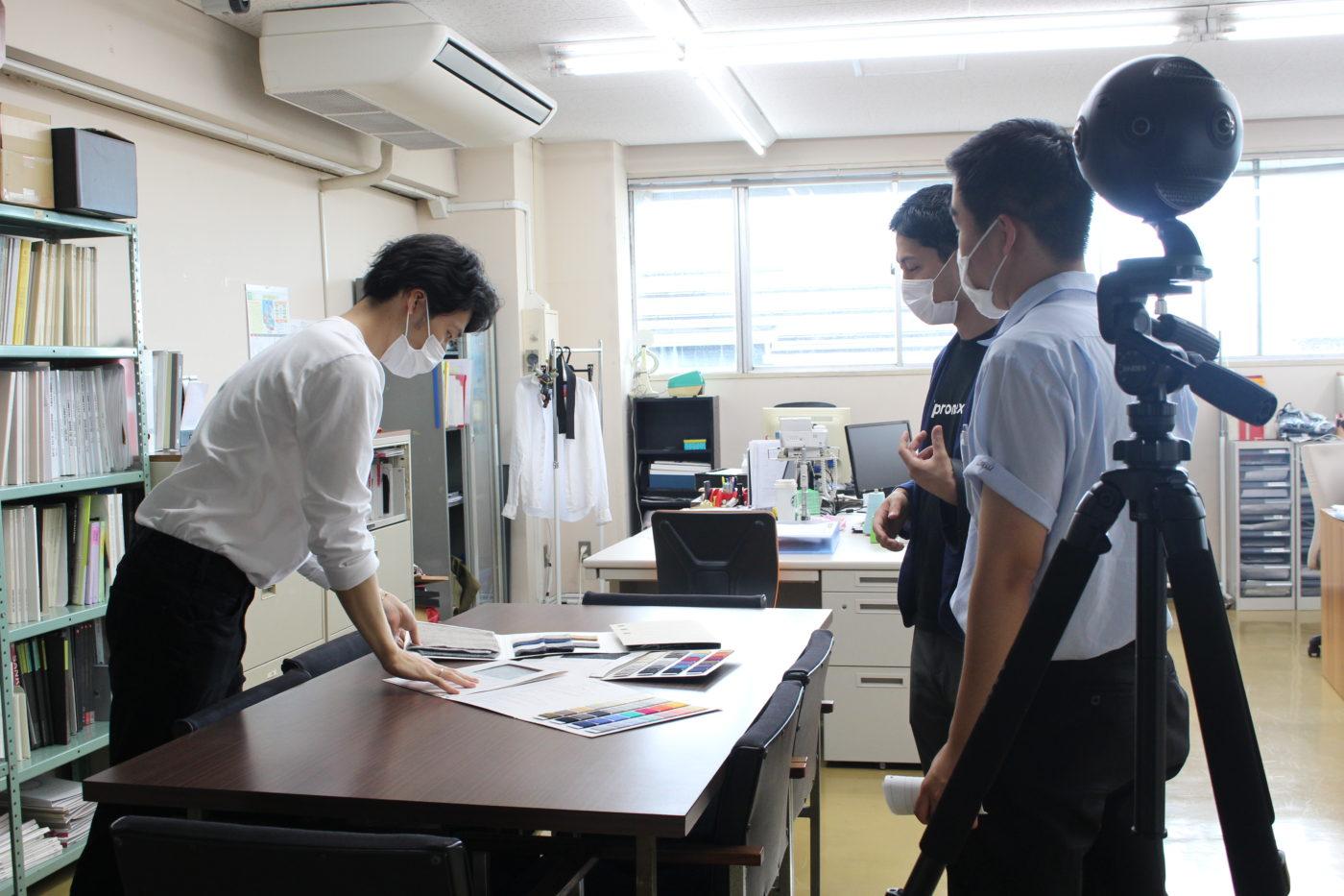 五泉高校生とニット工場で撮影6