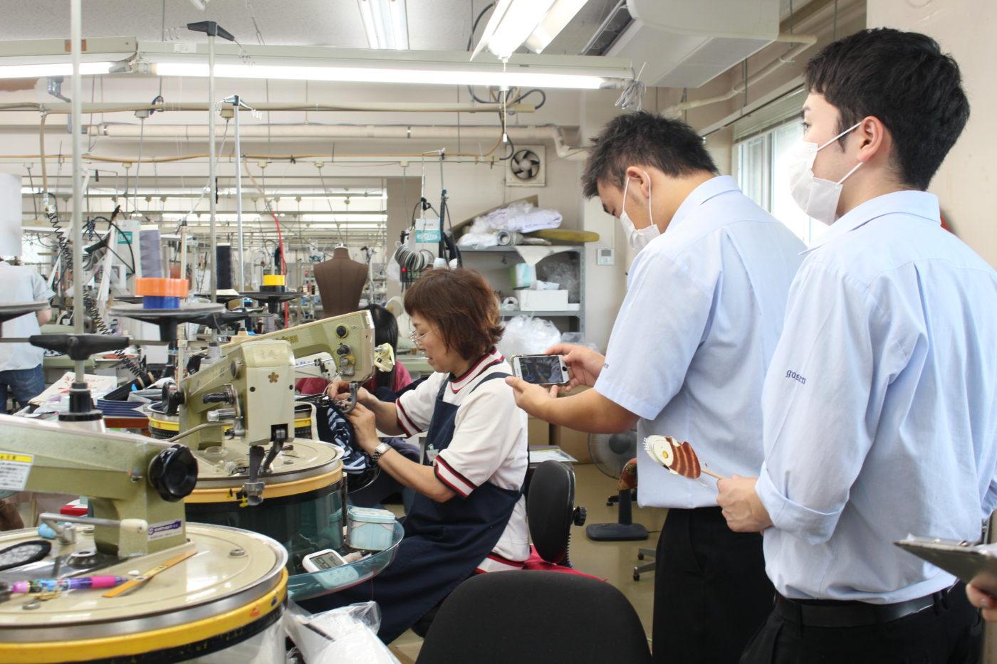 五泉高校生とニット工場で撮影10