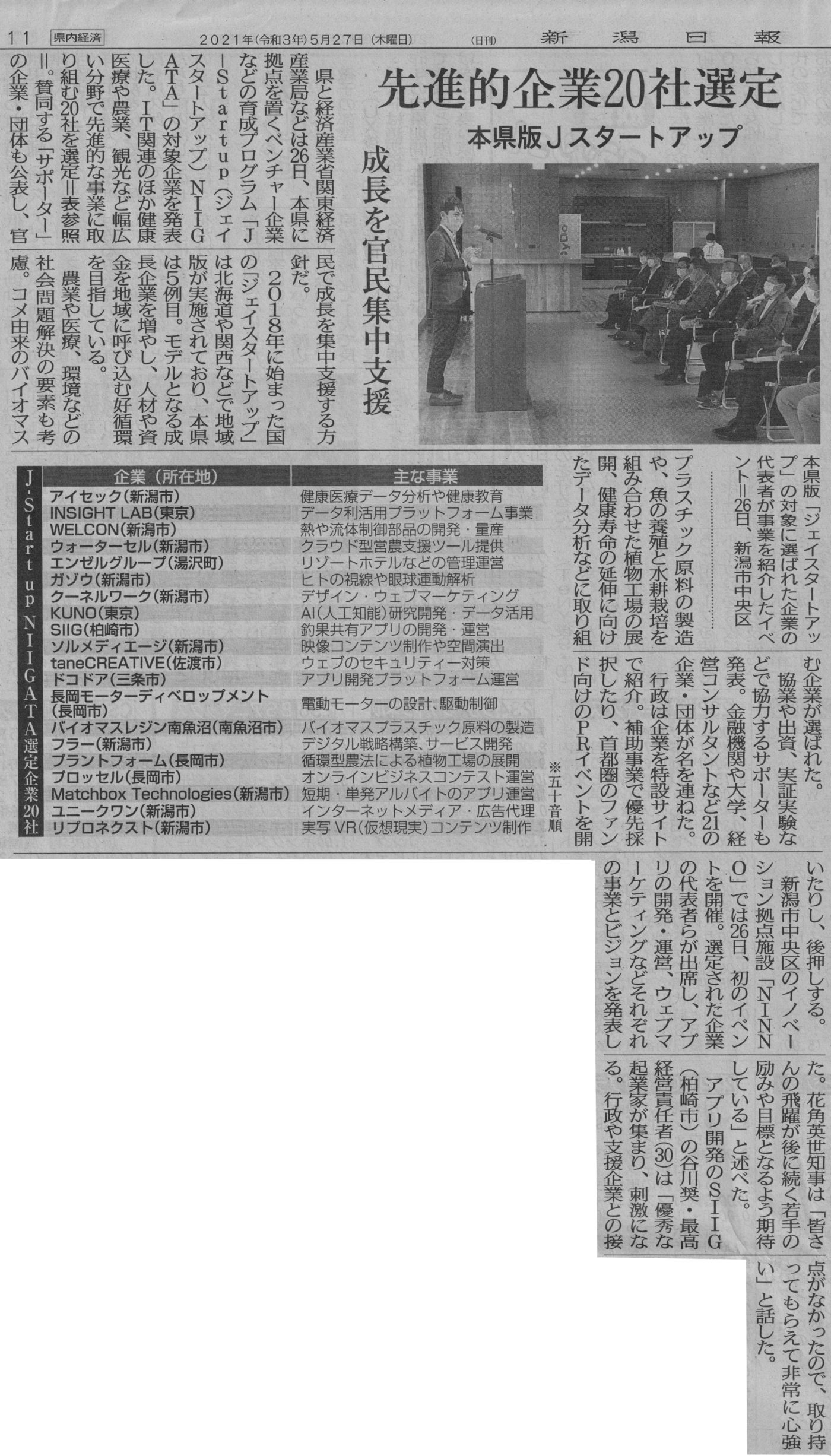 新潟日報掲載紙面